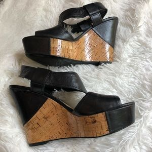 Franco Sarto Black Leather Wedge Sandals Size 7